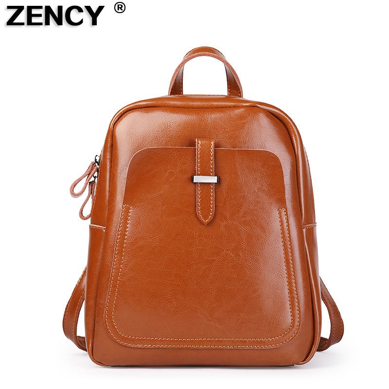 ZENCY Famous Luxury Brand Genuine Oil Wax Cowhide Second Layer Cow Leather Women Girls Real Leather School Backpack Shoulder Bag zency genuine leather backpacks female girls women backpack top layer cowhide school bag gray black pink purple black color