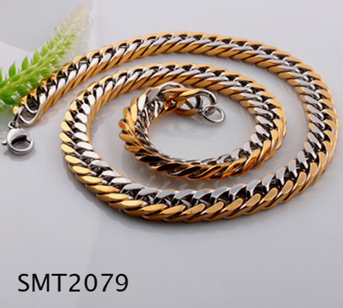 Free shipping New design mens chain with gold two tone stainless steel men curb chain necklace biker jewelry SMT2079