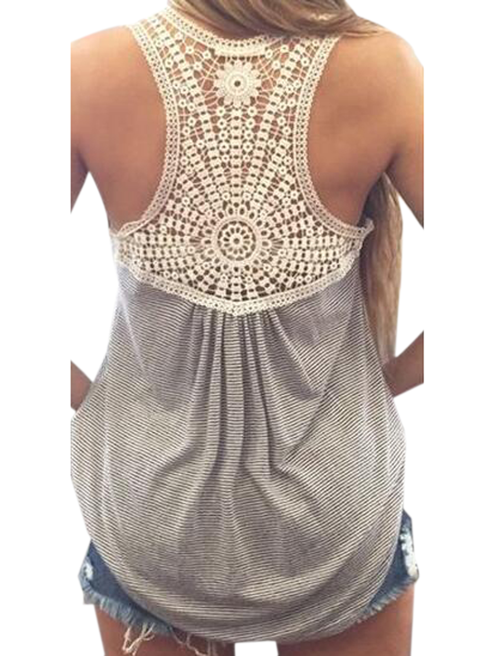 Back Crochet Lace Floral Pattern Grey Tank Top Women Vest Casual ...