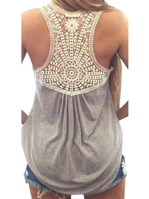 Back Crochet Lace Floral Pattern Grey Tank Top Women Vest Casual