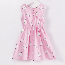 New Kids Girls Summer Cartoon Cotton Dress Girls O-neck Sleeveless Silk Floral A-line Elegant Dress Girls Princess Dress Outfits