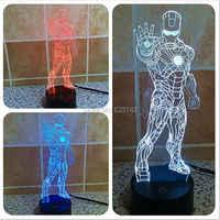 Trasporto Libero 1 Pezzo 3D di colore variabile Vendicatori Iron Man laser HA CONDOTTO LA Luce di Notte del USB 3D HA CONDOTTO LA Lampada di Umore Per giocattoli per bambini o regali
