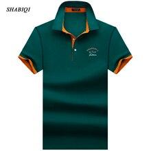SHABIQI брендовая одежда, новая мужская рубашка поло, мужская деловая и повседневная однотонная мужская рубашка поло, дышащая футболка-поло с коротким рукавом, S-10XL