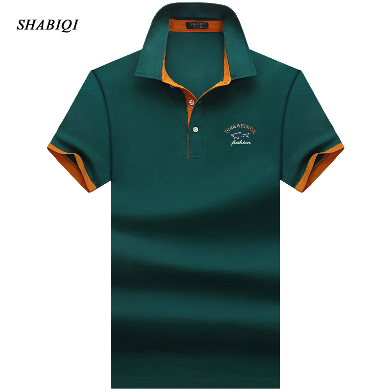 SHABIQI Brand clothing New Men Polo Shirt Business & Casual solid male polo shirt Short Sleeve Breathable S-10XL