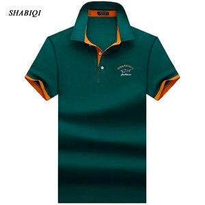 SHABIQI Brand clothing New Men Polo Shirt Men Business & Casual solid male polo shirt Short Sleeve Breathable polo shirt S-10XL(China)