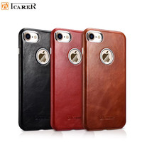 ICARER Brand Case for IPhone 7 Plus Retro Genuine Leather Shell Back Cover for IPhon 7 7 Plus Metal Button Fundas