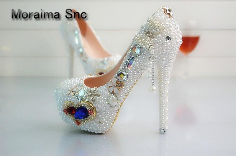 Moraima Snc brand luxury shoes women Heart-shaped crystal women pumps platform high heels pumps 14 cm white pearl stiletto party все цены
