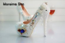 Moraima Snc brand luxury shoes women Heart-shaped crystal pumps platform high heels 14 cm white pearl stiletto party