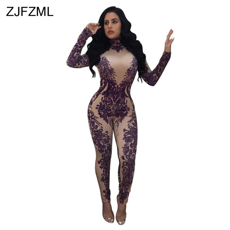 ZJFZML 2018 фиолетовый принт Сексуальная Тощий комбинезон в винтажном стиле, с длинным рукавом Водолазка Club Комбинезоны для Для женщин Молния сз... ...