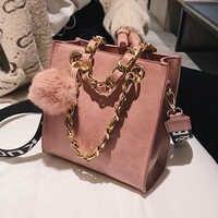 Moda Retro mujer cadena bolso de mano 2018 nueva Alta Calidad cuero PU mujeres diseñador bolso pelo bola hombro mensajero bolsas