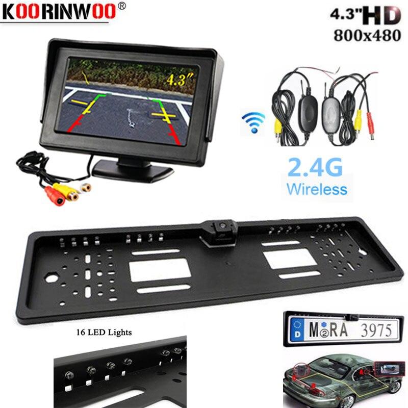 Koorinwoo 16 Revertendo Luz Matrícula Automóvel NA UE Quadro HD Visor da câmera de visão traseira Do Monitor de backup sistema de estacionamento de assistência