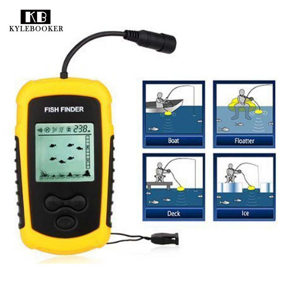 Portable Fish Finder Transducer Sonar Sounder Alarm Fishfinder 0.7-100m fishing echo sounder with Battery with English Display brand portable waterproof wire fish finder lcd monitor sonar sounder alarm fishfinder 2 feet to 328 feet echo fishing finder