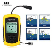 Portable Fish Finder Transducer Sonar Sounder Alarm Fishfinder 0.7-100m fishing echo sounder with Battery with English Display