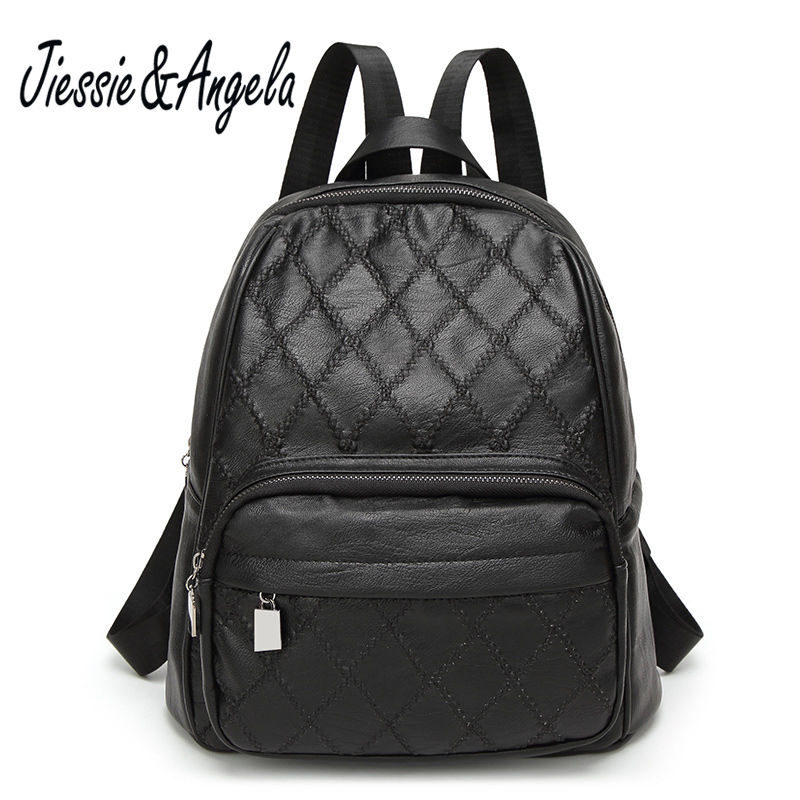 Jiessie Angela Fashion Women Leather Backpack Teenage Girls School Bags Casual Preppy Style Black Solid Backpack