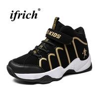 Basketball Boys Training Shoes Gold White Sneakers Kids Basketball Comfortable Basketball Children Shoes Popular High Top Shoes|Basketball Shoes| |  -