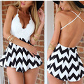 Hot Selling ! 2015 Women Printed Rompers	Sexy Deep V-neck Backless Lace Chiffon Short Jumpsuit Beach, Party S-XL 30