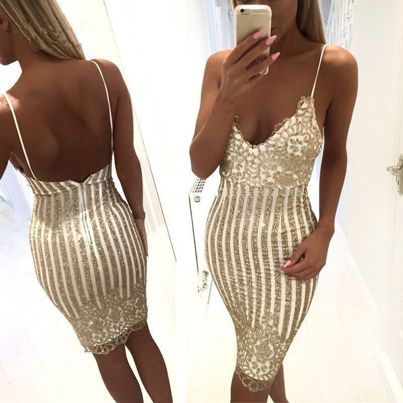 Sexy Party Night sequin summer dress Women V-neck elegant vintage dresses Shinning Gold sequined Flower Lace Dress    2