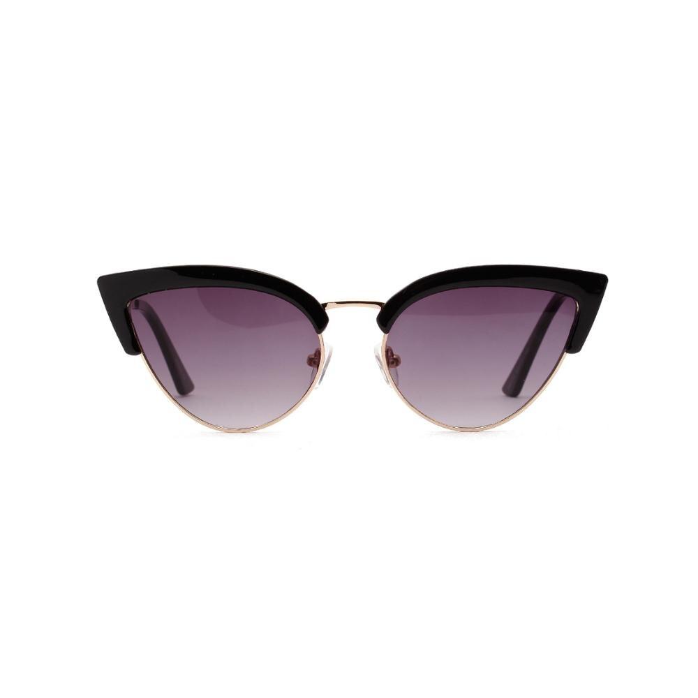 Vinatge Smalll Sunglasses Women Personlity Fashion Sharp horned Cat Shape Semi metallic Leopard Brown Lens UV400 Female Eyewear in Women 39 s Sunglasses from Apparel Accessories