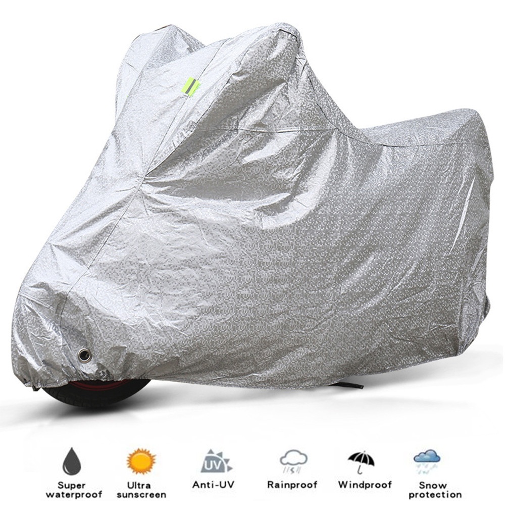Waterproof Motorcycle Cover Outdoor UV Protector Scooter Motobike Rain Cover Thick Aluminum Film Electric Bicycle Riding Cover