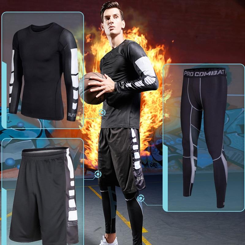 BINTUOSHI Men gym Fitness clothing sportswear male running sets basketball jerseys training suit compression kits