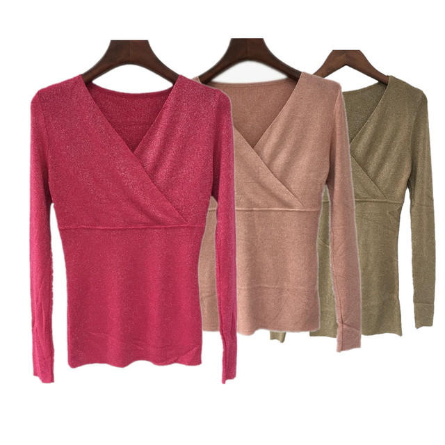 New Arrival Autumn Winter V Neck Sweater Women Pullover Knitting Cashmere Elastic Sweater Top Slim Base Shirt Sweaters Knitwear