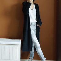 New Autumn Winter Coat Sweater Women's Female Cardigan Long Section V neck Long sleeved Loose Coat Jacke
