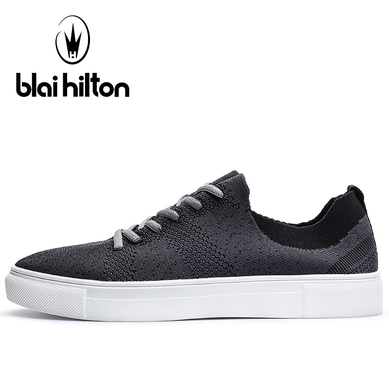Blaibilton Breathable Mesh Skateboarding Shoes Man Brand Flat Lace Up Sport Shoes For Men Light Weight Summer Men's Sneakers