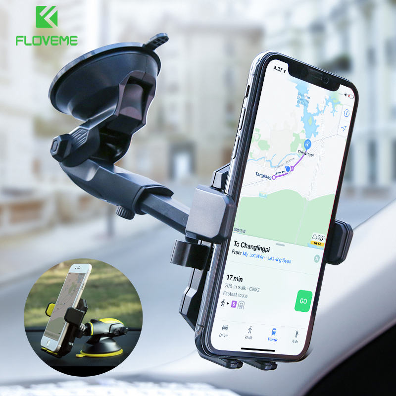 FLOVEME Luxury Car Phone Holder For iPhone X 8 7 6 Plus Windshield Mount Stand 360 Rotation Phone Holder For Samsung S9 S8 Plus