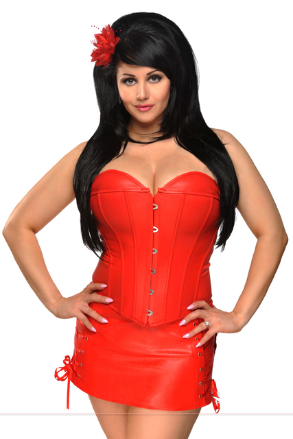 ae96ffa9e2 Bustier   Corset Women Lingerie PV Leather Bustier Sexy Steampunk Overbust  Chest Binder Bodice Plus Size