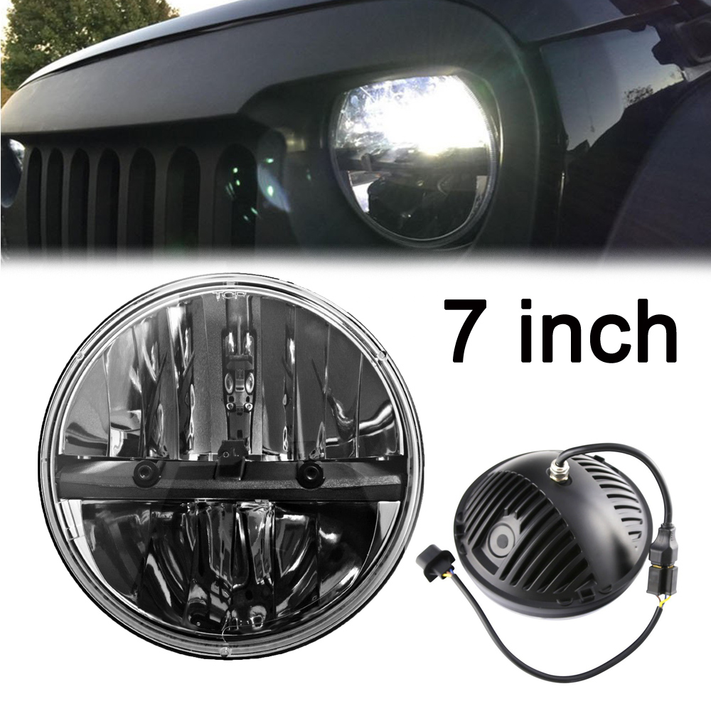все цены на Universal Black motorcycles headlamp 7 inch round led headlight for jeep wrangler Jk Cj Tj Offroad Vehicles pack of 1