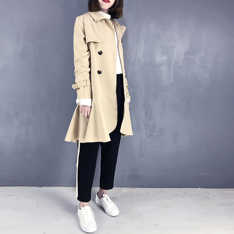 Ruffled Fashion Women Windbreaker Double-breasted Autumn New 2019 Lapel   Trench   Coat for Women Wild Solid Color Women Clothing