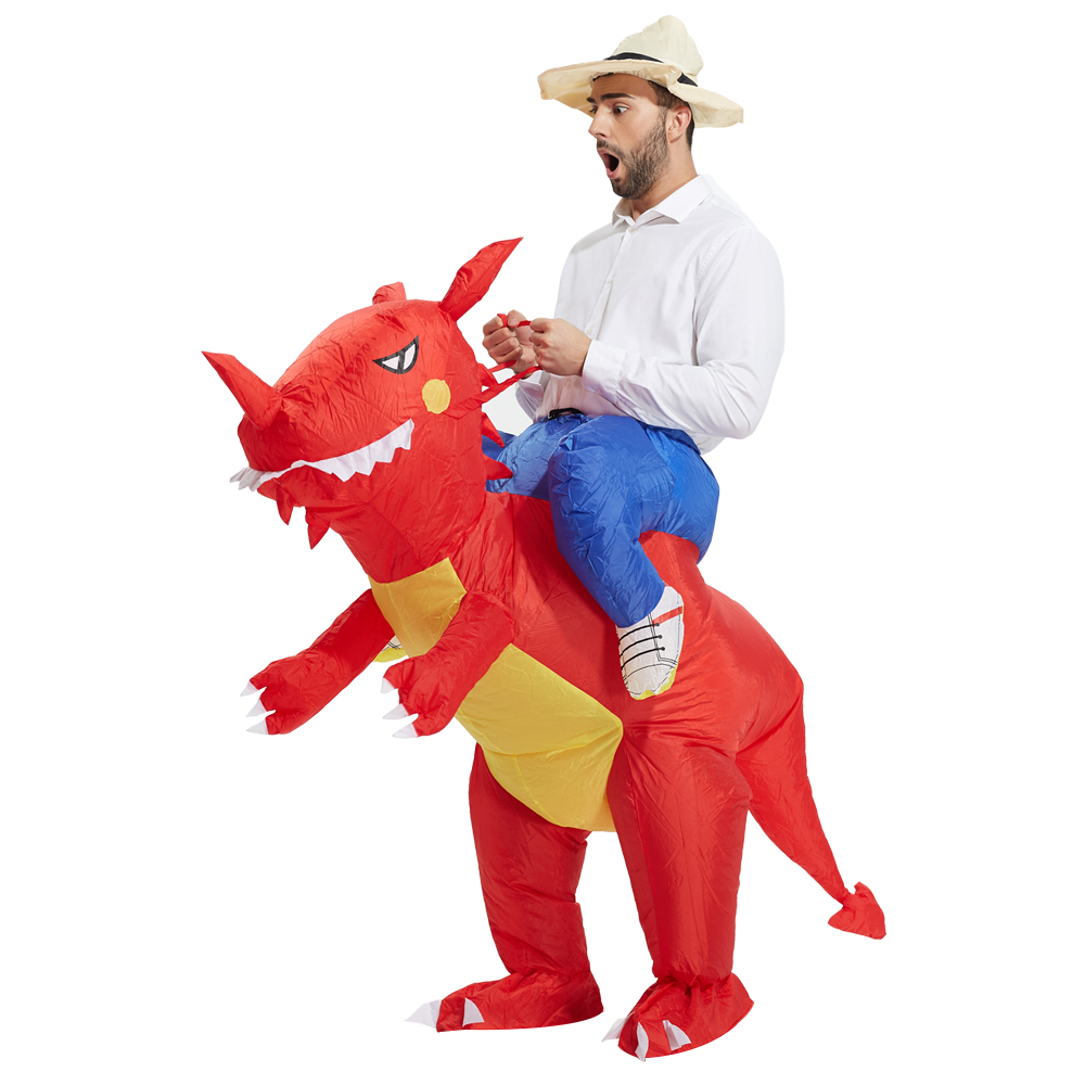 Christmas Purim for unisex Inflatable Dinosaur Costume - Fan Operated Adult Kids Size Halloween Cosplay Animal Dino Rider T-Rex