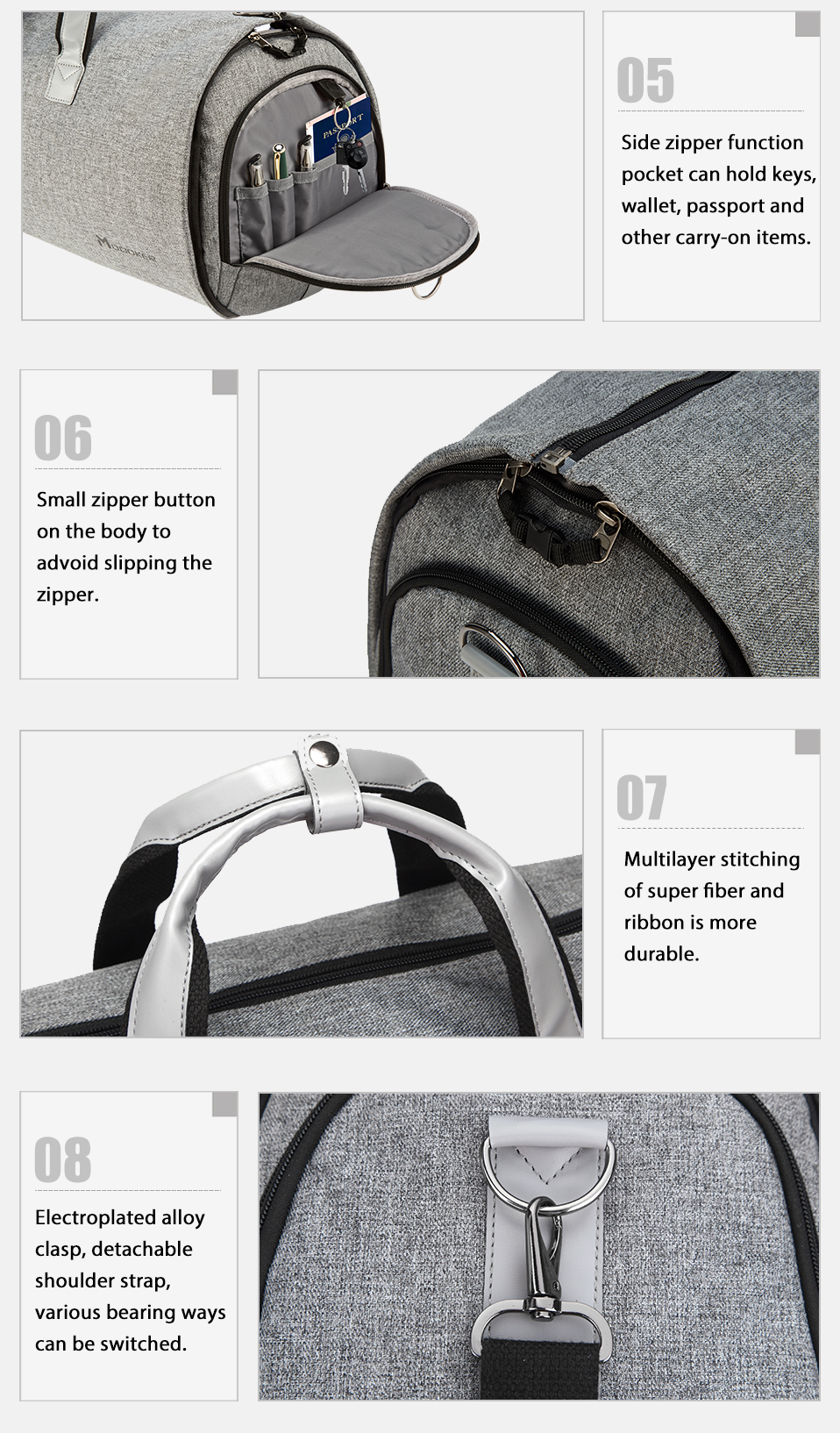 Modoker New Travel Garment Bag Shoulder Strap Duffel Bag Business Fashion Carry on Hanging Clothing Multiple Pockets Waterproof