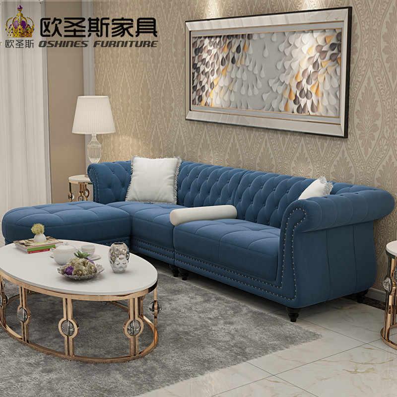 dubai leather sofa furniture 4 seaters dark blue sleeper 2017 European new  classical buttons suede velvet fabric sofa set W35F