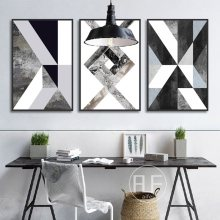 Abstract Geometric Canvas Painting Black and White Nordic Posters and Prints Wall Art Picture for Living Room Decor No Frame(China)