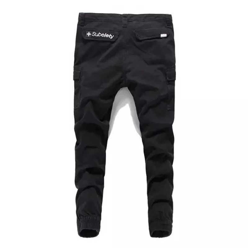 Высокий класс для мужчин черные джинсовые тренировочные штаны брюки известная брендовая одежда Повседневное лодыжки-Длина брюки из джинсовой ткани с карманами с перекрестной шнуровкой джинсы Для мужчин A240