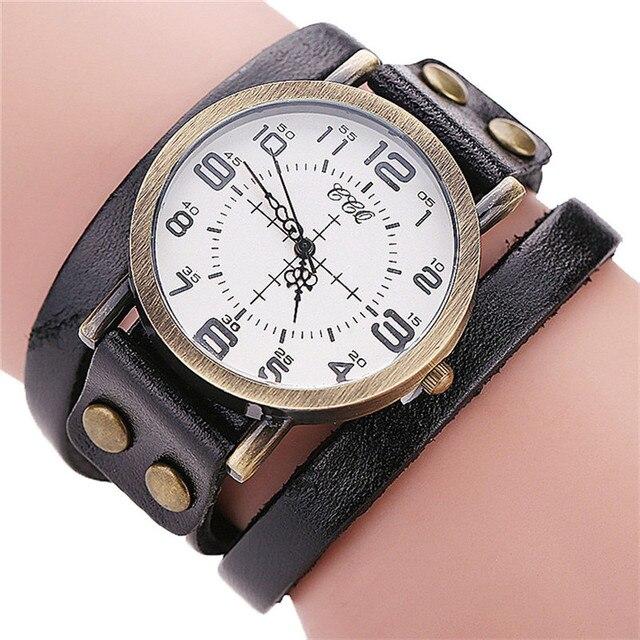 Luxury Brand Vintage Cow Leather Bracelet Watch Men Women Stainless Steel Wristw