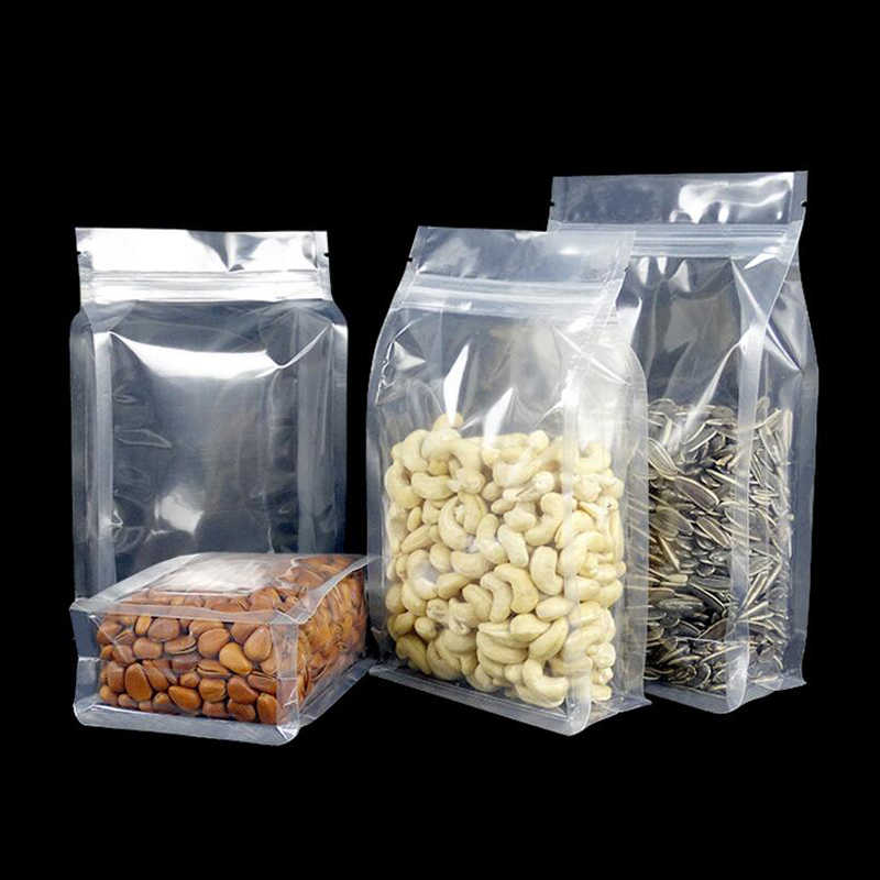 100Pcs Big Capability Food Moisture-proof Bags,Clear Bags Stand Up Pouch, Flat Bottom Packaging Bags for Snack Cookies Baking