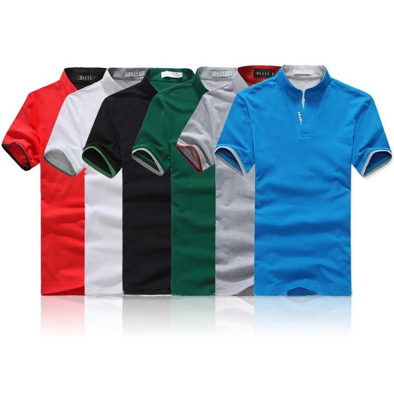 Classic Men Stand Collar T Shirt Short Sleeve Tee T-shirt Solid Color M-XXXL Dropshipping Wholesale