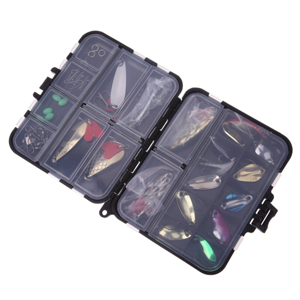 37pcs/set Metal Spinners Fishing Lure Mixed Color Spoon Lures Hard Artificial Bait  Fishing Tackle with Box New Fish Accessories 5pcs box mouse shape fishing lure bait soft fishing baits tackle box accessory tool metal spoon fishhook fishing artificial lure