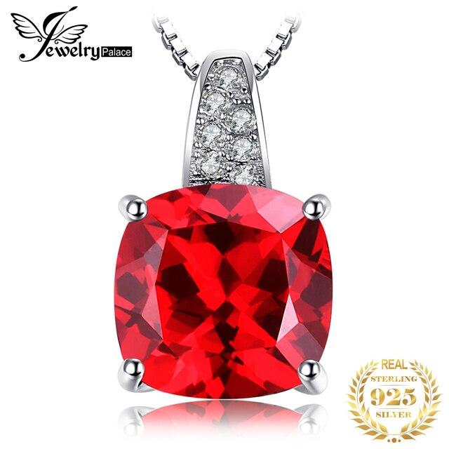 JewelryPalace Bạc 925 4.9ct Tạo Ra Màu Đỏ Hồng Ngọc Mặt Dây Chuyền Vòng Cổ Cho Nữ Cưới, Trang Sức Không Dây Chuyền