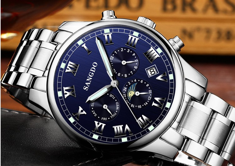 42mm Sangdo multifunction Automatic Self-Wind movement Sapphire Crystal High quality Mechanical Wristwatches Men's watch 0035