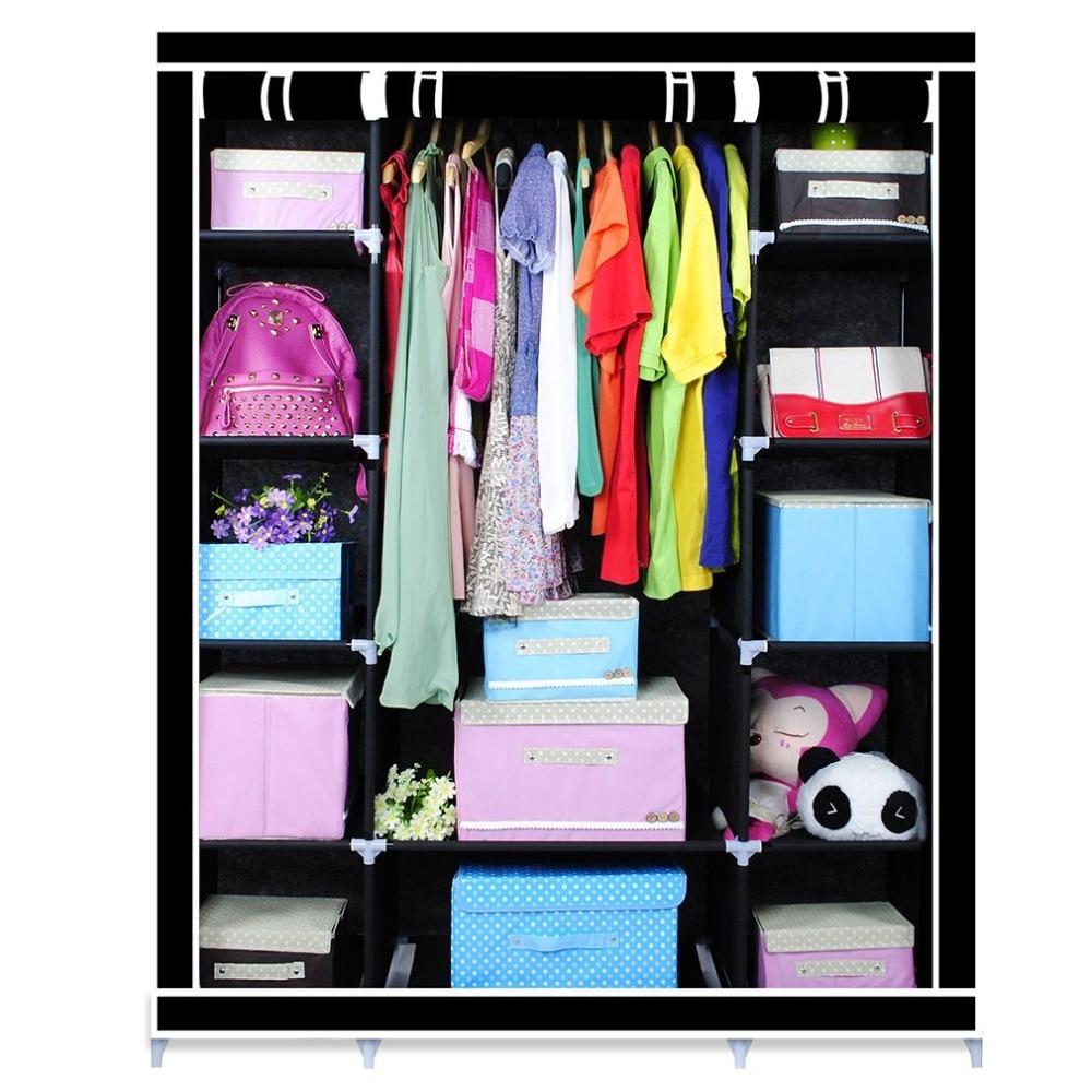 Three Doors Foldable Multiple Canvas Wardrobe Hanging Rail Home Closet  Simple DIY Folding Coat Dress Clothes Storage Cabinet