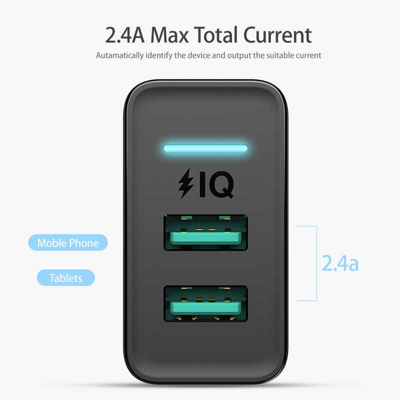 Floveme 5V LED Dual USB Charger untuk Iphone Ipad Samsung Xiaomi Cepat Dinding Travel Charger Uni Eropa Plug Ponsel charger Telepon