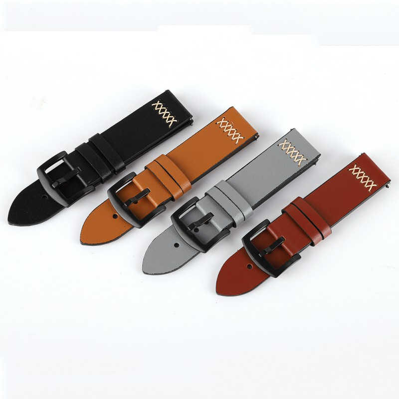 Men's Genuine Leather Watch Strap Band Stainless Steel Buckle Wrist Watch Band 22 24 26 Mm