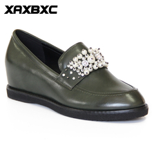 XAXBXC Retro British Style Leather Loafers Oxfords Flat Women Shoes Heighten shoes Pearl Round Toe Handmade Casual Lady Shoes