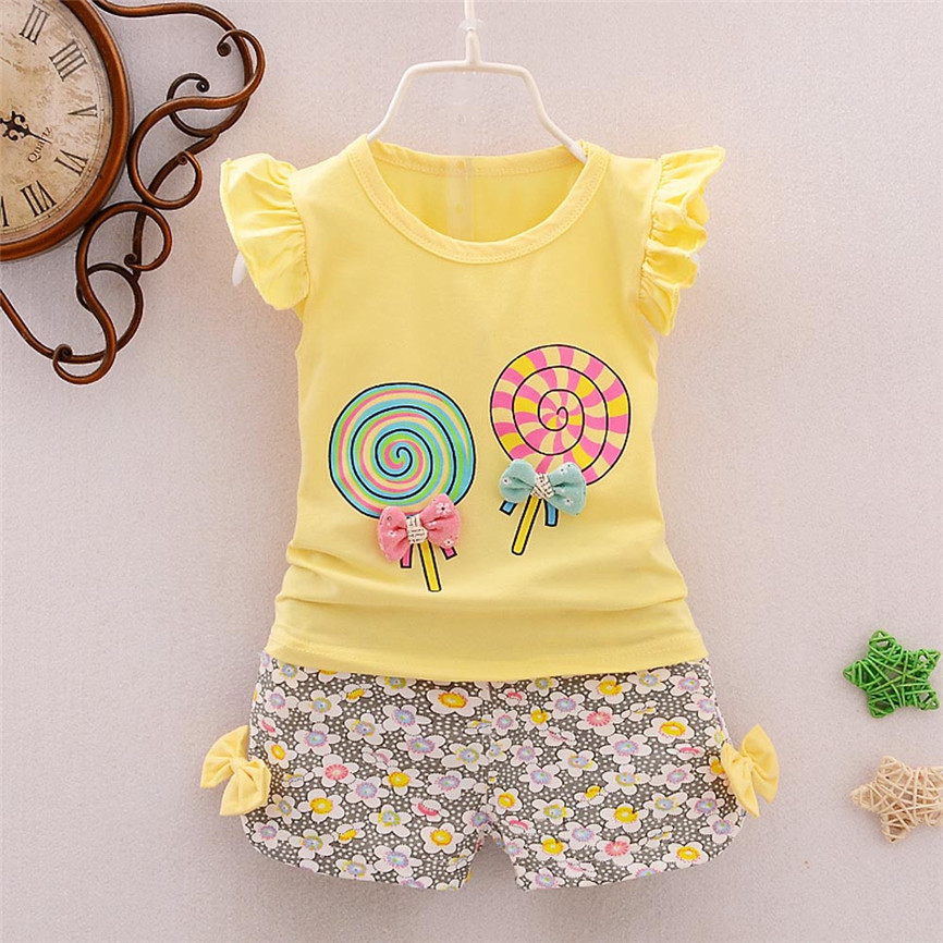 2018 Summer Cute 2PCS Toddler Kids Baby Girls Princess Outfits Lolly T-shirt Tops+Short Pants Clothes Set Dropshipping 0315 p# 2pcs children outfit clothes kids baby girl off shoulder cotton ruffled sleeve tops striped t shirt blue denim jeans sunsuit set