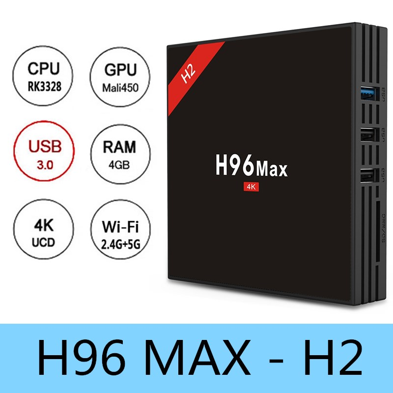 D'origine H96 MAX-H2 Android 7.1 TV Box RK3328 4 GB RAM 32 GB ROM Set Top Box 5G WiFi 100 Mbps USB 3.0 BT 4.0 4 K Médias lecteur