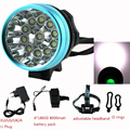 20000LM Waterproof Bike Front Headlight 11 x Cree XM-L T6 LED Bicycle Light Cycling Head Lamp + 18650 Battery Pack + Charger