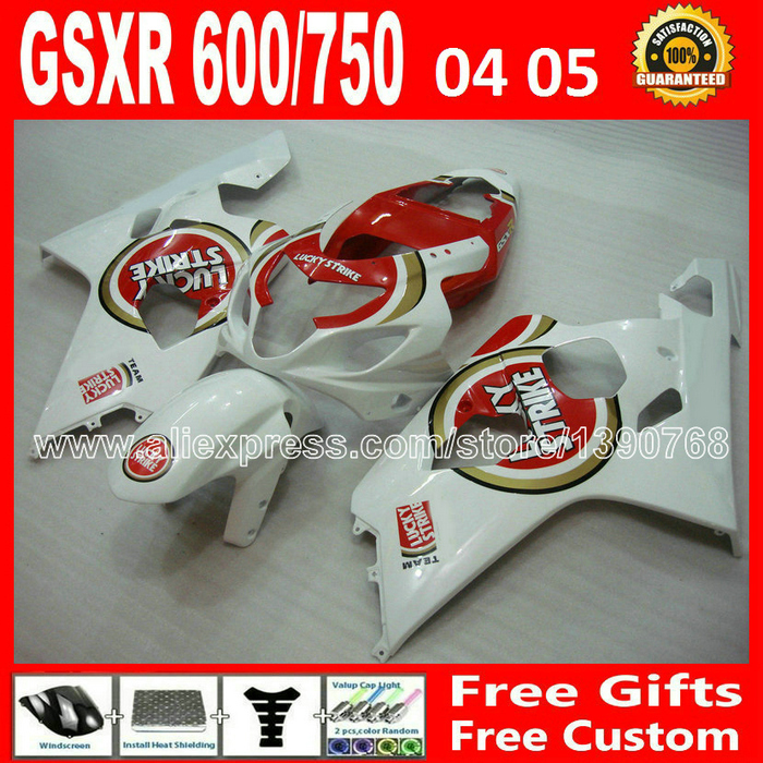 Free custom for 2004 2005 glossy red white SUZUKI GSXR 600 750 fairing kit K4  gsxr600 DCG gsxr750 fairings kits 04 05 plastics lowest price fairing kit for suzuki gsxr 600 750 k4 2004 2005 blue black fairings set gsxr600 gsxr750 04 05 eg12